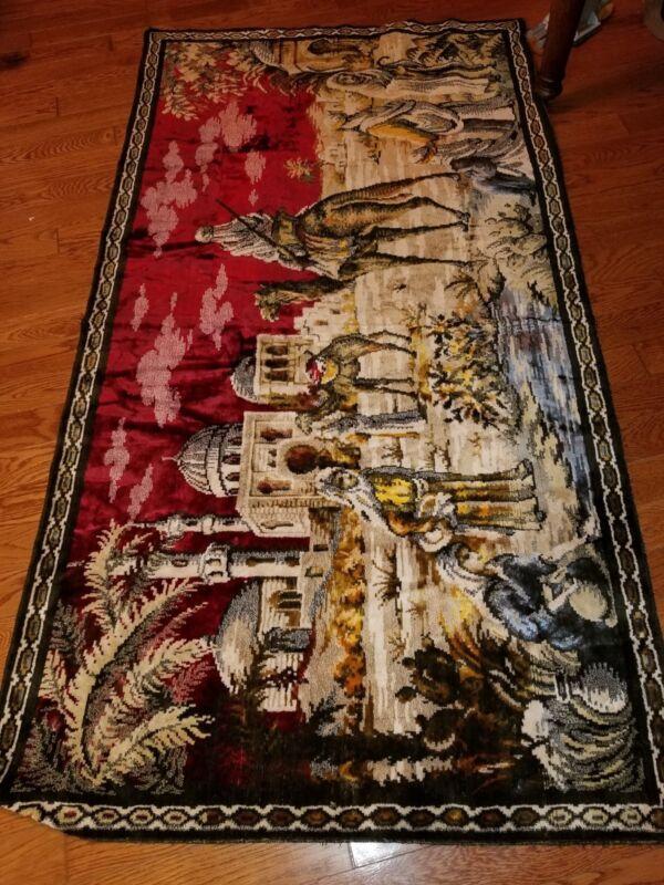 Large Vintage Tapestry Arabian Desert Mosque Camel 42 X 78