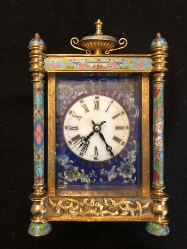 Elaborate Chinese Cloisonne Enamel Mantel Mechanic Clock