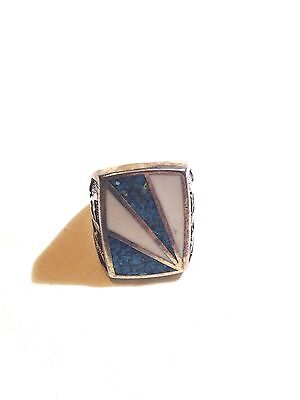 1980's Vintage Inlay Stone Large Stainless Steel  Men's Size 8 Ring