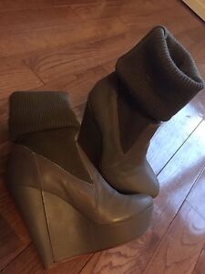 Brand new leather sock wedge boots
