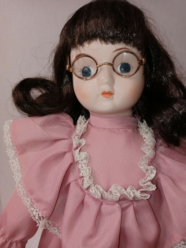 """Victorian 15"""" Porcelain Ruffles Brunette Glasses Collectible Gift Pretty, stand"""