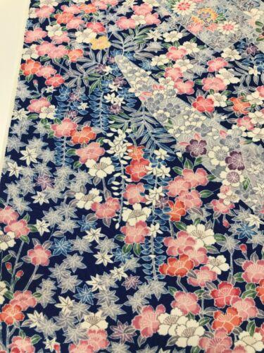 @@104 cm x 35 cm  Japanese kimono silk fabric/ smooth crepe/ sakura, peony W39
