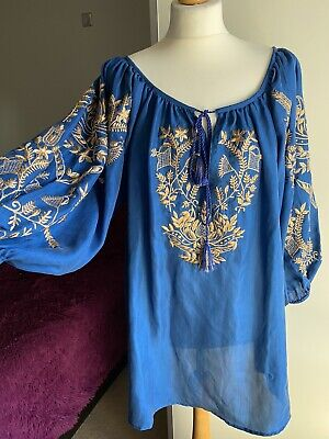 juliet dunn Size 2 (UK10-12) New! RRP£450 Blue And Gold Embroidery Sold Out!