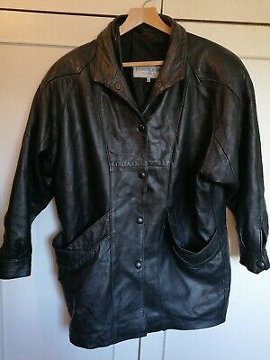 Real Leather Jacket Vintage Retro 80's/90's 3/4 Length Sleeve Shoulder Pads