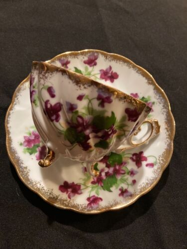 Napco Tea Cup and Saucer- Bone China Footed 1DD239 Hand Painted