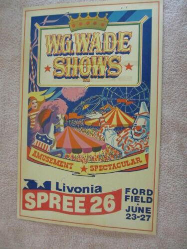 Vintage 1976 Livonia Spree Poster W.G. Wade Shows  Livonia Michigan *