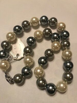 """Iris & Lily London sterling silver and gray Faux Pearl Necklace 17"""" ()"""
