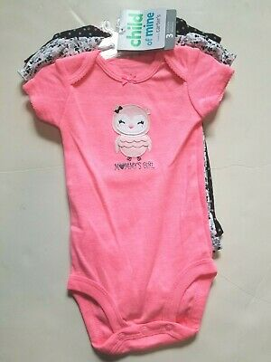 Owl Baby (NWT Child Mine,Carters Baby Mommy Girl BODYSUIT 3p Set Owl Neon Pink Black)