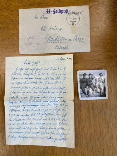 WW2 WAFFEN SS LETTER & UNIFORM +PHOTO,IN SS FELD POST ENVELOPE