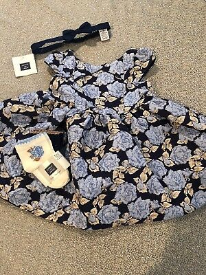 NWT Janie And Jack Baby Girl Navy Blue Gold 4-piece Floral Wedding Dress SET 3 6 (Navy Blue And Gold Wedding)
