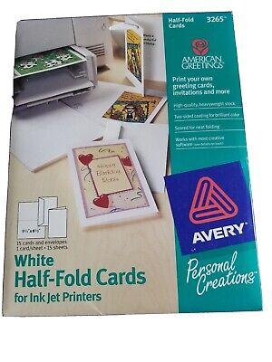 Set Of 15 White Half Fold Cards And Envelopes For Ink Jet Printers