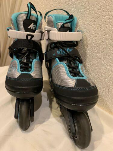 K2 Marlee Adjustable Inline Skates U.S. Size 1-5 Youth Roller Blades Silver Blue