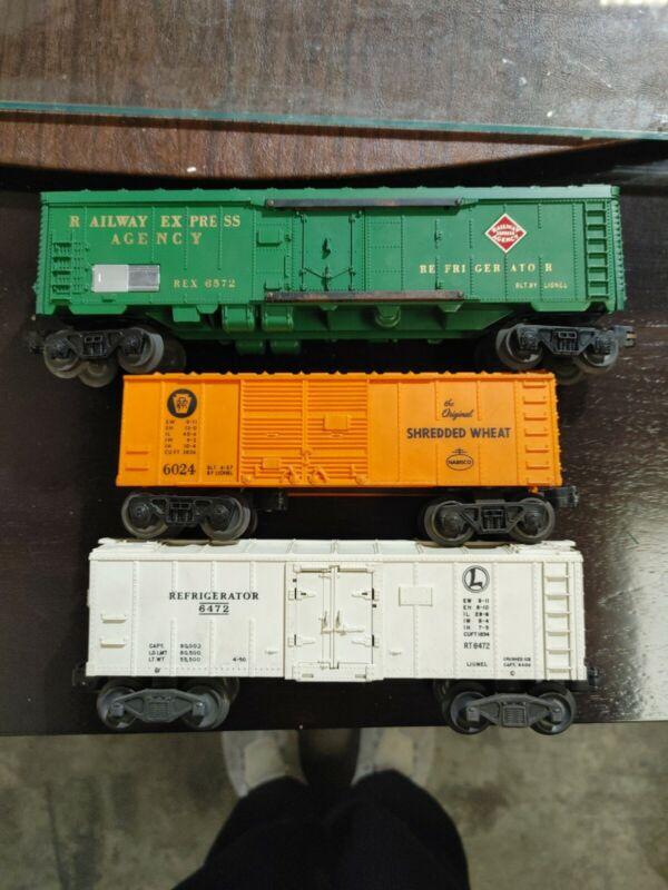 Lionel 6572,6472,6024 Refrigerator Car And Shredded Wheat Cars
