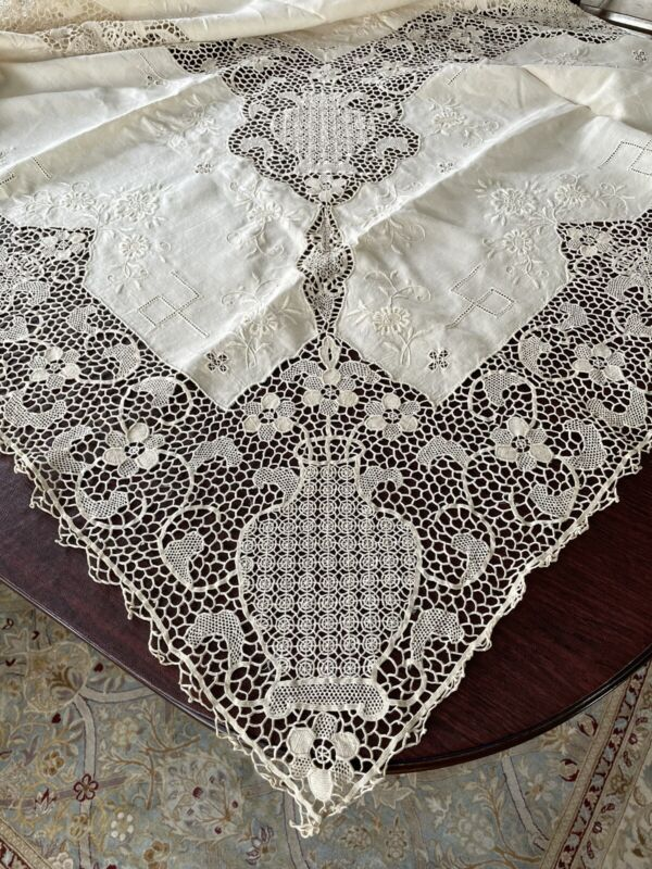 "Handmade Venetian Needlelace Needle Lace Tablecloth / Napkin Set Banquet 119"""