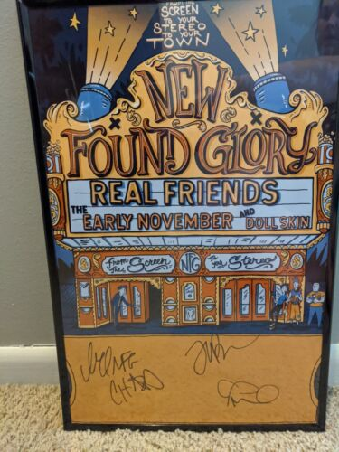 Signed New Found Glory (NFG) From Screen to your Stereo 3 framed poster 11 by 17