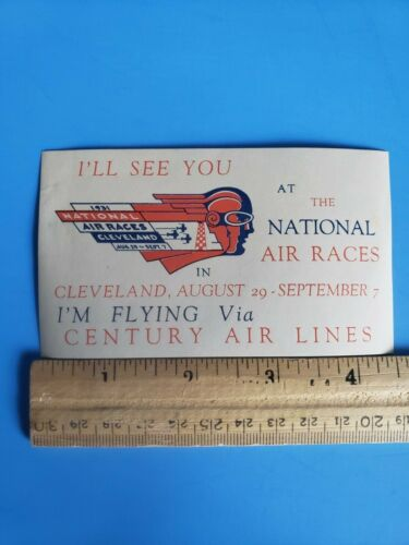 1931 Cleveland National Air Races Windshield Parking Sticker Decal Art Deco Cool