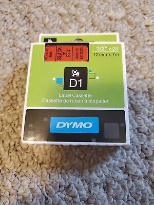 Dymo Brand D1 Black Ink On Red Label Cassette 12 X 23 Feet 12mm X 7m 45017