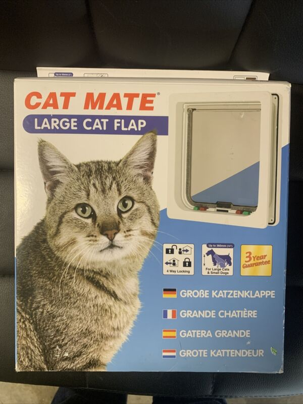 Cat Mate Large Med Small 4 Way Locking Cat Flap Pet Mate - 221 235 White