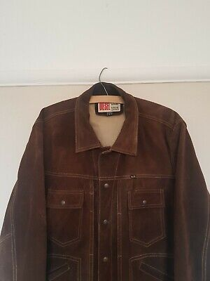 Diesel Mens Vintage Brown Leather Suede Jacket •L• 90s Vintage Workwear