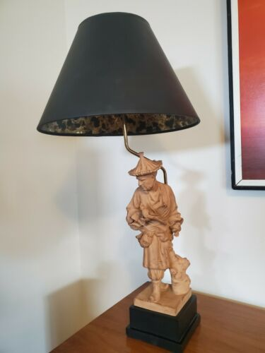 Vtg Mid Century CHAPMAN  Asian Figural Terra Cotta Table Lamp * 33""