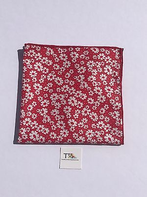 Red Floral Pocket Square with Red Trim