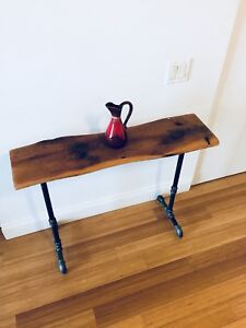 RECLAIMED WOOD CONSOLE TABLE INDUSTRIAL STEEL PIPE BASE
