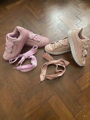 2 Pairs Puma Basket Trainers Size 4 Pink Coral Extra Laces