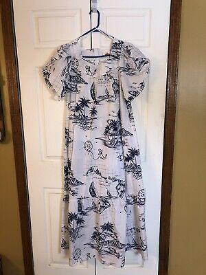Dress Hawaiian Theme (Royal  Creations Hawaiian MuuMuu House LoungeDress Navy Blue Island Theme)