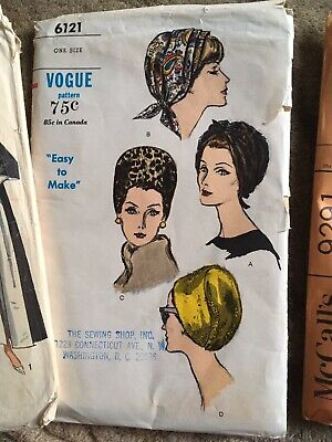 Vtg Hat Turban Sewing Pattern 50's Vogue 6121 Alopecia Chemo Cancer Smoke Free Free Hat Sewing Patterns