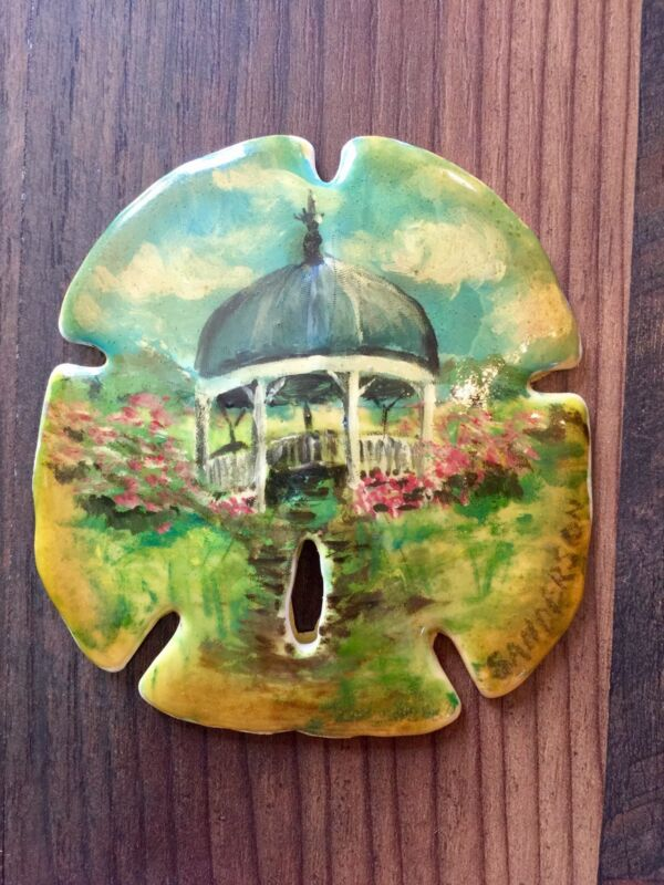 """Collectible 3.5""""x3.5"""" HAND PAINTED GAZEBO LANDSCAPE SAND DOLLAR by C. Sanderson"""