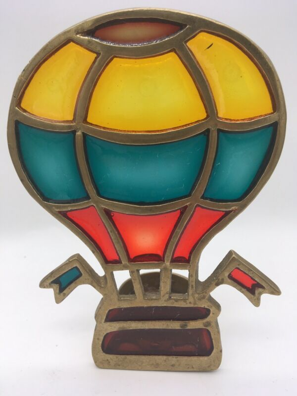 """vintage 1980s brass hot air balloon votive candle holder """"stained Glass"""""""