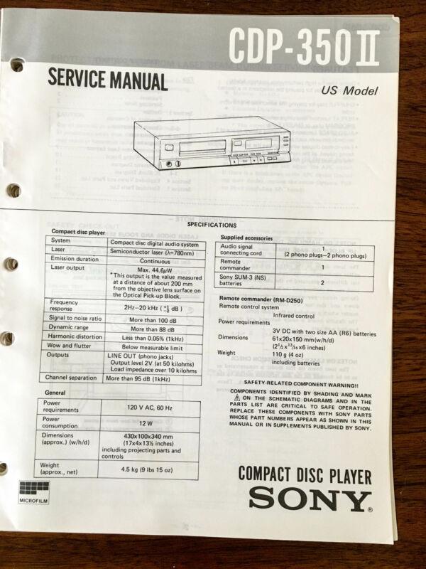 Sony CDP-350 II  Service Manual *Original*
