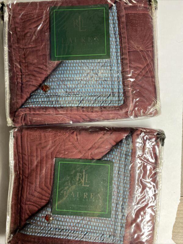 Set of 2 NEW Ralph Lauren STANDARD Sham VILLAGE MEWS Quilt Burgundy
