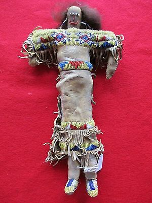 NATIVE AMERICAN  FEMALE INDIAN BEADED DOLL VINTAGE LEATHER BEADED DOLL, DU-00051