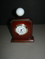 WOOD GOLF BALL QUARTZ DESK MANTEL CLOCK