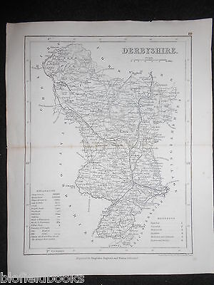 Европа Antiquarian Map of Derbyshire c1850