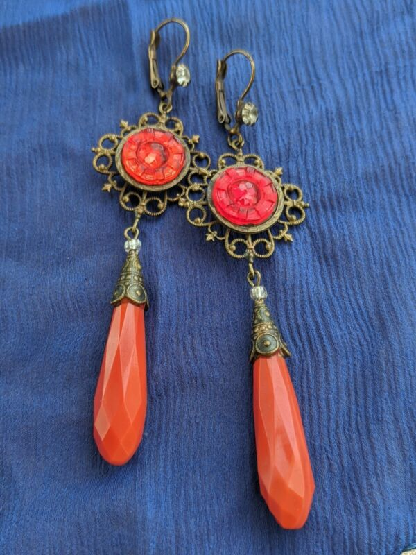 Antique Art Deco pierced earrings RED Czech glass CORAL dangle drop red pressed