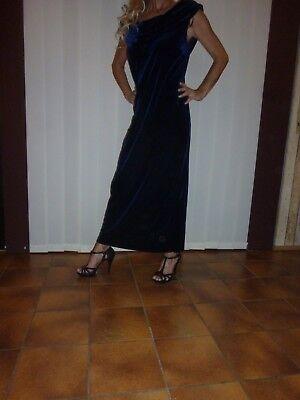 Mitternachtsblaues Samt Stretch Kleid 48 Abendkleid Ballkleid Cocktailkleid