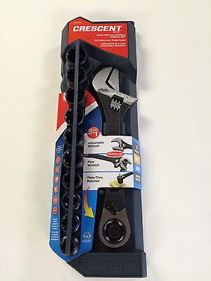 "Crescent 11-Piece X6™ – Pass-Thru™ 8"" Adjustable Wrench Set, New"