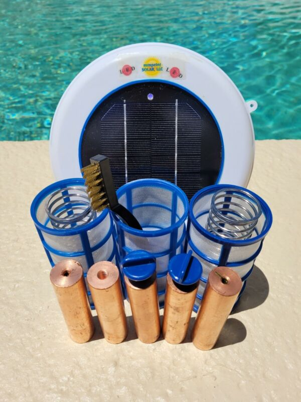 Solar Pool Ionizer- LED UPGRADE - 5 Heavy 16 Ounce Anodes-3 Baskets - Two Spring