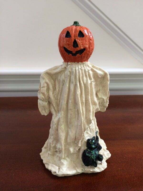Vintage Halloween Sparkly Glitter Ghost Pumpkin Bat Figure Resin 7 1/2""