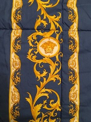 $5000 VERSACE COMFORTER BED COVER BEDSPREAD MEDUSA GOLD BLUE 2 sides KING SALE