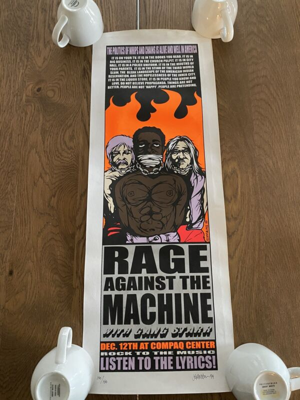 1999 Rage Against The Machine Poster Signed By Jermaine Rodgers #150/150 Rare