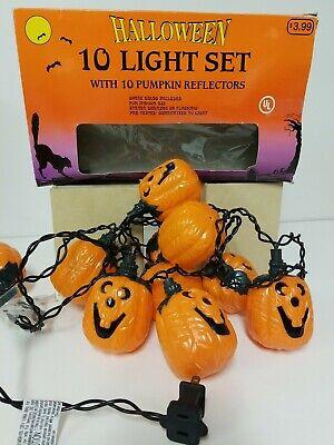 Jack-o-Lantern Pumpkin Halloween String Lights Blow Mold Pumpkins Used Plug In