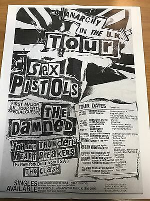 RARE FOLDED SEX PISTOLS 'ANARCHY IN THE UK 1976 TOUR' GIG POSTER