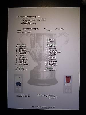 1971 League Cup Final Tottenham Hotspur v Aston Villa matchsheet