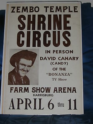 DAVID CANARY Original Circus Public Appearance Poster late 60's Harrisburg, PA