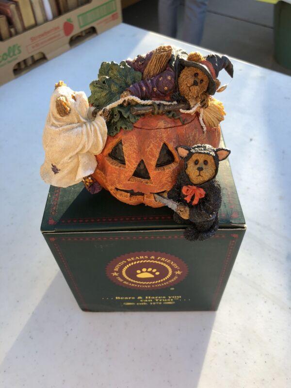 Boyds Bears Halloween Meenie, Miney, Moe w/Jack...Boo!  Pumpkin ~ Witch ~ 1E NEW