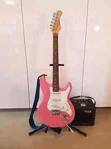 Pink Electric Guitar and Amplifier Parklea Blacktown Area Preview