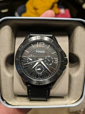 Fossil Modern Century Multifunction Watch Black Dial Black Leather Strap BQ2204